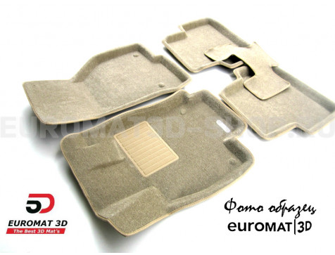 Текстильные 3D коврики Euromat3D Business в салон для Cadillac CTS (2007-2014) (2WD) № EMC3D-001301T Бежевые