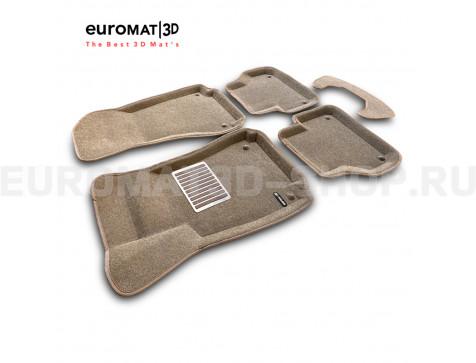Текстильные 3D коврики Euromat3D Lux в салон для Audi A5 (2016-) Sportback № EM3D-001102T Бежевые